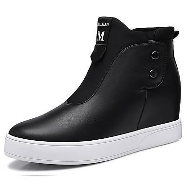 Naiset Kengät Tekonahka Syksy Comfort Tasapohjakengät Tasapohja Vetoketjuilla Käyttötarkoitus Kausaliteetti Puku Valkoinen Musta