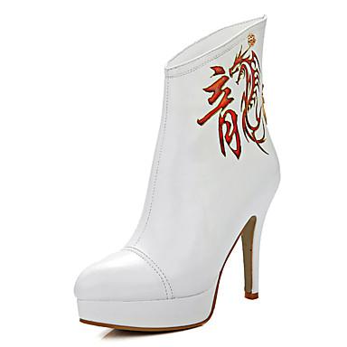 Feminino Sapatos Courino Primavera Outono Inverno Botas Plataforma Ziper Para Casual Social Festas & Noite Branco Preto Vermelho Dourado