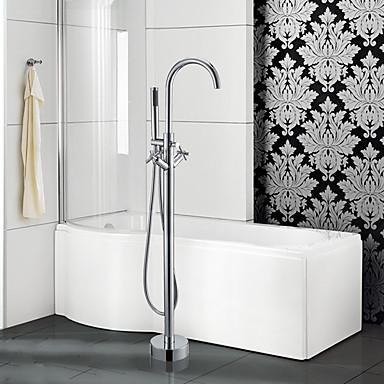 Moderne Art déco/Retro Modern Badewanne & Dusche Wasserfall Handdusche inklusive Mit ausziehbarer Brause Verbreitete Bodenstand