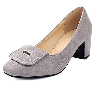 女性用 靴 フリース 夏 秋 ヒール チャンキーヒール リボン のために カジュアル オフィス&キャリア ブラック グレー レッド