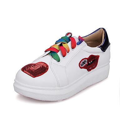 Feminino Sapatos Gliter Courino Primavera Verão Outono Inverno Conforto Tênis Plataforma Cadarço Para Casual Social Vermelho Azul
