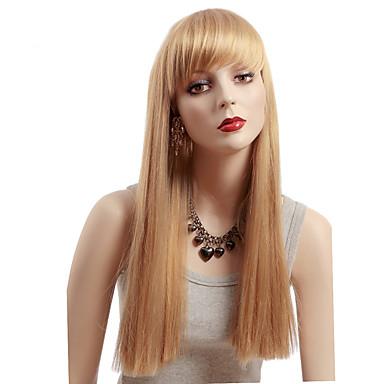 Kvinder Syntetiske parykker Lågløs Medium Glat Blond Sort paryk kostume Parykker