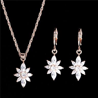 Halskette / Ohrringe Braut-Schmuck-Sets Schmuckset Modisch Vintage Einstellbar Krystall Zirkon Weiß Halsketten Ohrringe FürHochzeit Party