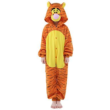 Kinder Kigurumi-Pyjamas Tiger Pyjamas-Einteiler Samtnerzchen Orange Cosplay Für Jungen und Mädchen Tiernachtwäsche Karikatur Halloween Fest / Feiertage