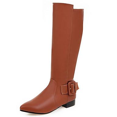 Støvler-Kunstlæder-Modestøvler-Dame-Sort / Brun-Bryllup / Udendørs / Hverdag / Formelt-Lav hæl