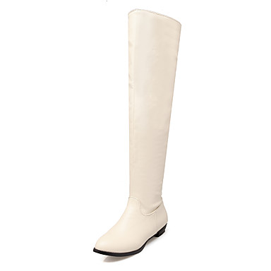 Støvler-Kunstlæder-Ridestøvler-Dame-Sort Brun Beige-Formelt Fritid-Lav hæl