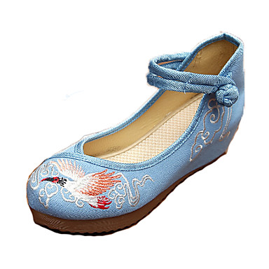 Fladsko-Kanvas-Komfort Mary Jane-Dame-Blå Beige-Fritid-Flad hæl
