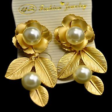 Mujer Pendientes cortos - Perla Flor Europeo, Moda Dorado Para Diario Casual