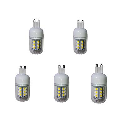 5pcs 3000-3200/6000-6500lm G9 LED-kornpærer T 27 LED perler SMD 5050 Dekorativ Varm hvit Kjølig hvit 220-240V