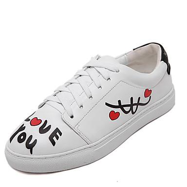 Dame-PU-Flat hæl-Komfort / Rund tå-Sneakers-Fritid-Hvit