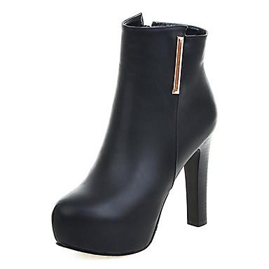 Bootsit-Leveä korko-Naisten-Tekonahka-Musta / Harmaa-Puku-Platform / Saappaat