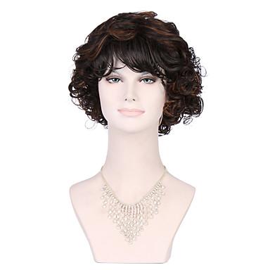 Synteettiset hiukset Peruukit Kihara Suojuksettomat musta Wig Lyhyt