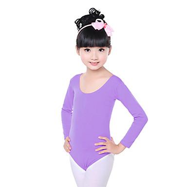 Ballet Trikoter Børne Træning Bomuld Krøllede Folder 1 Stykke Langt Ærme Naturlig Trikot 48  50  52  54  56  58