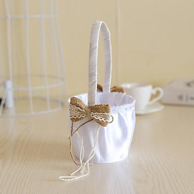 hvid satin med jute bue bowknot dekoration blomst kurv til bryllupsfest (12 * 12 * 24 cm)