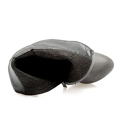 Hæle-laklæder Kunstlæder Syntetisk-Combat-støvler Cowboystøvler Ankelstøvler Ridestøvler Modestøvler Motorcykelstøvler-Dame-Sort Rød Grå-