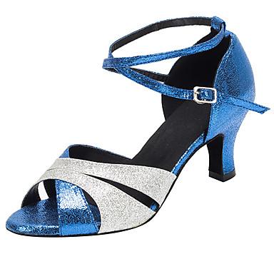 Dames Latin Salsa Glitter Sandalen Hakken Binnenshuis Gesp Glitter Cuba-hak Blauw 6cm Niet aanpasbaar