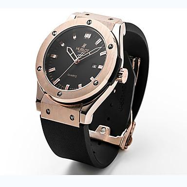 baratos Relógios Homem-Mulheres Casal Unisexo Relógio de Moda Relógio de Pulso Quartzo Borracha Preta 30 m / Analógico Casual - Preto Prata Ouro Rose