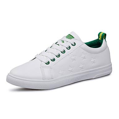 Herrer Sneakers Komfort Tyl PU Forår Efterår Atletisk Afslappet Gang Komfort Snøring Flad hæl Sort Grøn Flad