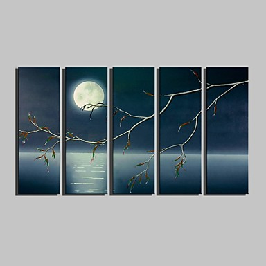 E-HOME® Stretched Canvas Art The Moonlit Night Scenery Decorative Painting Set of 5