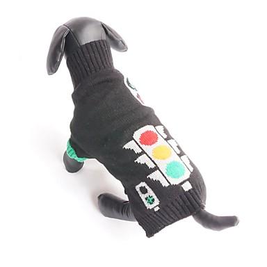 Kat Hund Bluser Hundetøj Geometrisk Sort Bomuld Kostume For kæledyr Herre Dame Sødt