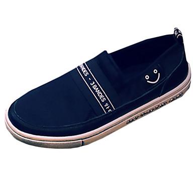 Herre-Lerret-Flat hæl-Komfort-一脚蹬鞋、懒人鞋-Fritid-Svart Hvit Gull