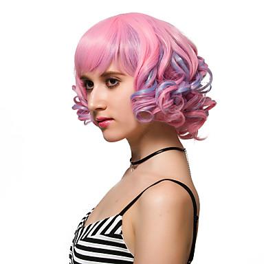 Syntetiske parykker Pink Syntetisk hår Pink Paryk Dame Kort Lågløs