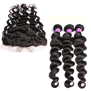 Cabelo Peruviano Trama do cabelo com Encerramento Ondulação Larga Extensões de cabelo 4 Peças Preto