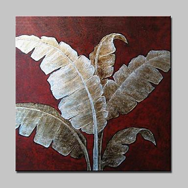 Met de hand geschilderd moderne abstracte bananenblad olieverfschilderijen op doek kunst aan de muur met gestrekte frame klaar om op te hangen