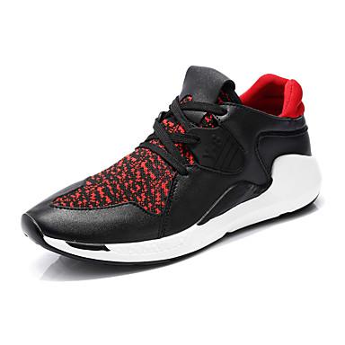 Masculino-TênisRasteiro-Preto e Vermelho Preto e Branco-Couro Tule-Escritório & Trabalho Casual Para Esporte