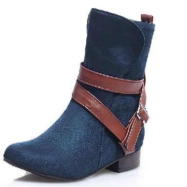 Støvler-Kunstlæder-Modestøvler-Dame-Sort Blå Brun Rød-Udendørs Kontor Fritid-Lav hæl