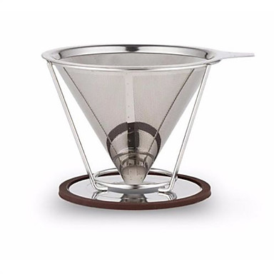 rustfrit stål hæld kaffe dripper genanvendelige dobbelt lag mesh-filter