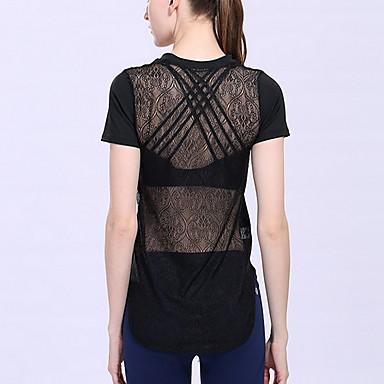 Dames Hardloopshirt Korte mouw Comfortabel Zonbescherming Kleding Bovenlichaam voor Training&Fitness Hardlopen Katoen Chinlon Slank Zwart