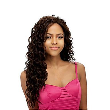 Pelucas sintéticas Rizado Pelo sintético Parte lateral Marrón Peluca Mujer Larga Marrón