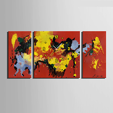 Moderni/nykyaikainen Muuta Seinäkello,Neliö Kanvas 30 x 60cm(20inchx20inch)x2pcs+ 60 x 60cm(24inchx24inch)x1pcs Sisällä Kello
