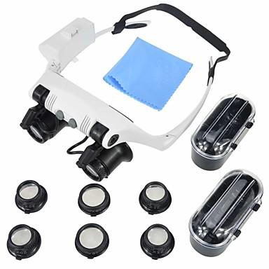 voordelige Microscopen & Endoscopen-Microscoop Sieraden / Horlogereparatie High-Definition / LED / Headset 10x 15x 20x 25x 16mm Normaal Kunststof