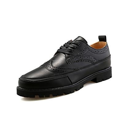 Herre-Lær-Flat hæl-Flate sko-Flate sko-Fest/aften-Svart / Hvit