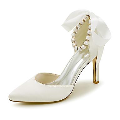 Damen Schuhe Satin Frühling / Sommer High Heels Stöckelabsatz Imitationsperle / Band-Bindung Golden / Champagner / Elfenbein / Hochzeit
