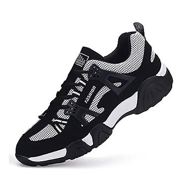Herrer Sneakers Komfort Tyl Forår Efterår Atletisk Løb Komfort Snøring Flad hæl Hvid Rød Blå Flad