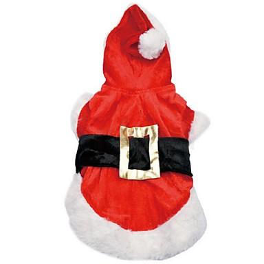 Hund Kostume Hettegensere Hundeklær Ensfarget Rød Terylene Kostume For kjæledyr Herre Dame Cosplay Jul