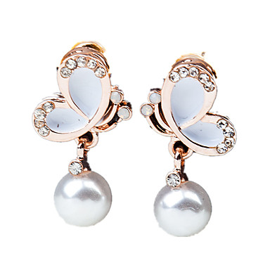 Women's Drop Earrings - Imitation Pearl, Rhinestone Butterfly Ladies, Fashion White / Black For Wedding Party Daily