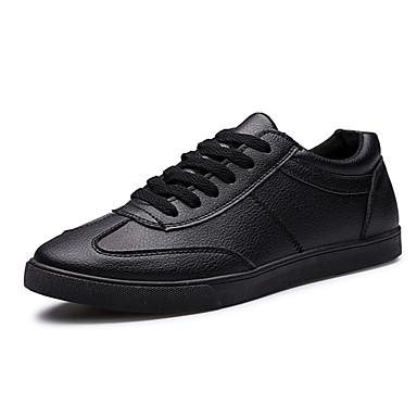Heren Schoenen PU Lente Herfst Comfortabel Sneakers Veters Voor Sportief Wit Zwart