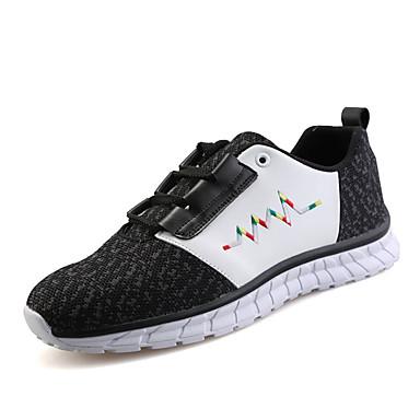 Kényelmes-Lapos-Női cipő-Tornacipők-Alkalmi Sportos-Tüll-Fekete Piros Szürke
