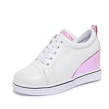 Damer Sneakers Forår Efterår Kanvas Tyl Gang Afslappet Snøring Kilehæl Sort Lys pink 12 cm og derover