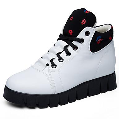 Damen Schuhe Kunstleder Frühling Herbst Winter Sneakers Walking Plattform Creepers Schnürsenkel für Büro & Karriere Draussen Weiß Schwarz