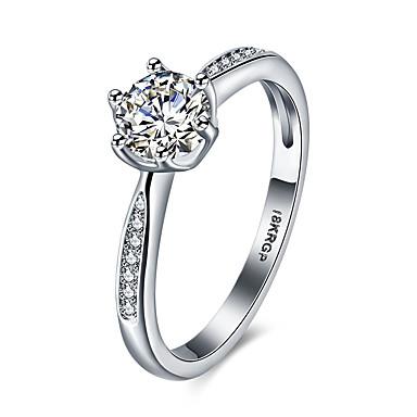 Damen Statement-Ring Bandring Weiß Synthetische Edelsteine Sterling Silber Zirkon Kubikzirkonia Diamantimitate Sechs Krappen