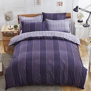 bedtoppings dekbed dekbed overtrek 4 stuks set queen size vlakke plaat kussensloop donkere streep prints microfiber