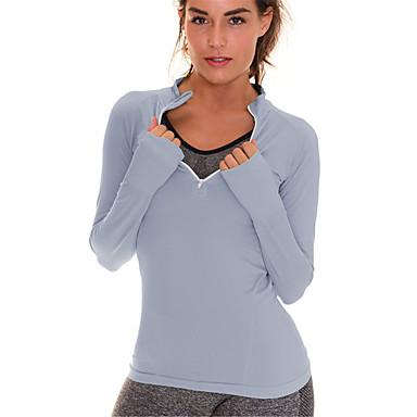 Dames V-hals Hardloopshirt - Groen, Grijs Sport Modieus Spandex T-shirt / Hemd / Sweatshirt Lange mouw Sportkleding Sneldrogend, Ademend,