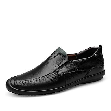 Heren Schoenen Leer Lente Herfst Comfortabel Loafers & Slip-Ons Wandelen Voor Causaal Zwart Bruin