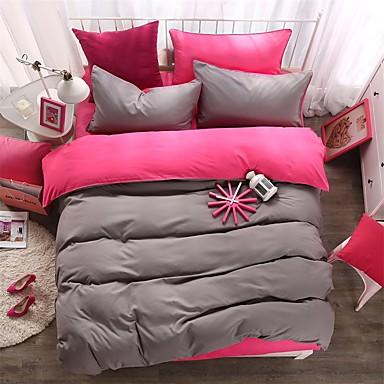 Bettbezug-Sets Solide 4 Stück Polyester Reaktivdruck Polyester 1 Stk. Bettdeckenbezug 2 Stk. Kissenbezüge 1 Stk. Betttuch