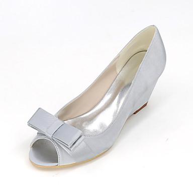 Mulheres Sapatos Seda Primavera Verão Saltos Salto Agulha Laço para Casamento Festas & Noite Azul Rosa claro Dourado Champanhe Ivory